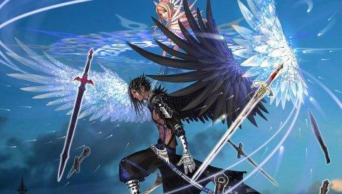 Мальчик, девушка, крылья, прыжок, мечи, полет