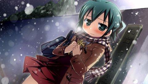 Девушка, грусть, снег, шарф, улица