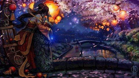 Девушка, мечты, Япония, восточная вишня, фейерверк, кимоно