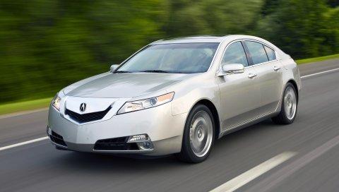 Acura, tl, 2008, серебристый металлик, вид сбоку, стиль, автомобили, скорость, деревья, шоссе
