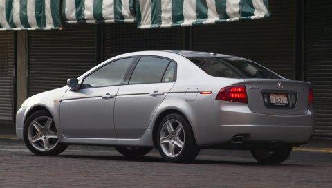 Acura, tl, 2004, серебристый металлик, вид сбоку, стиль, автомобили, улица, асфальт