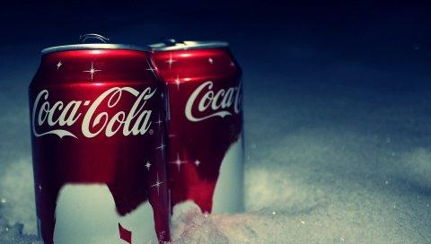 Кока-кола, бренд, напитки, банк, снег, новый год