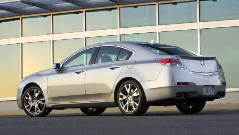 Acura, tl, 2008, серебристый металлик, вид сбоку, стиль, автомобили, здание