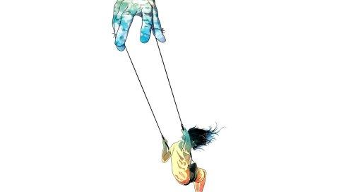 Рука, качели, люди, ветер, рок, сюрреализм