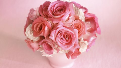 Розы, цветы, букет, ваза