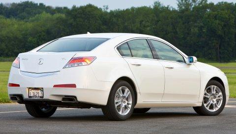 Acura, tl, 2008, белый, вид сбоку, стиль, автомобили, деревья, трава