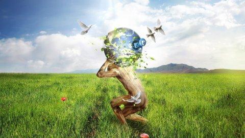 Люди, поле, трава, мяч, цветы, сюрреализм