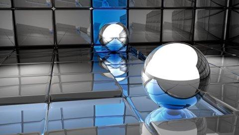 Мяч, металл, отражение, пространство, поверхность