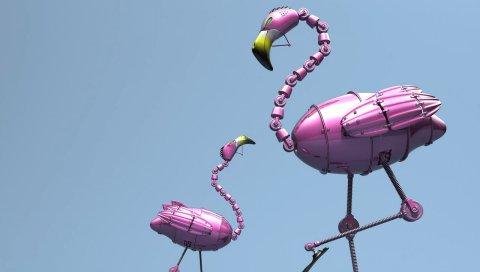 Фламинго, робот, розовый, куб, фигуры