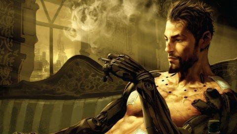 Deus ex, adam jensen, сигарета, кресло, дым, руки