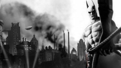 Batman arkham city, персонаж, рука, летучая мышь, город, черно-белый