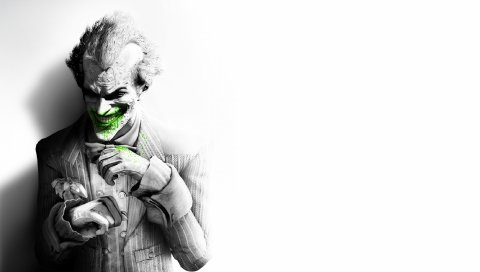 Город бэтмен аркхем, джокер, улыбка, костюм, цветок, фан-арт, черно-белый