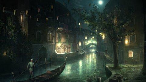 Убийцы, город, венеция, гондола, луна
