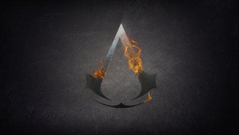 Символ убийцы, символ убийцы, фон, графика, огонь