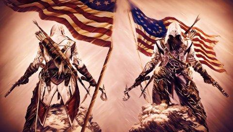Убийцы вероисповедание 3, мили, милиция, пистолет, топор, флаг
