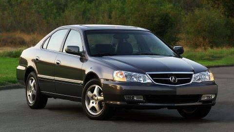 Acura, tl, 2002, черный, вид спереди, стиль, автомобили, природа, трава, кустарники, деревья, асфальт