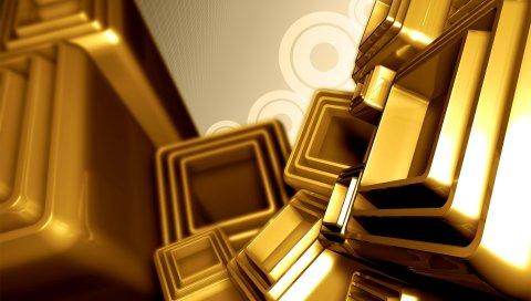 Форма, куб, пластик, полет, узоры, золото