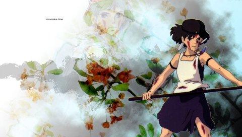 Принцесса mononoke, девушка, меч, удар, оружие, готовность, цветы