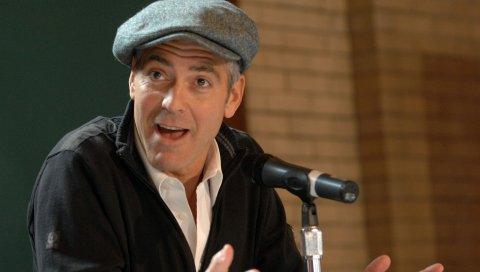 George clooney, мужчина, актер, знаменитость, микрофон