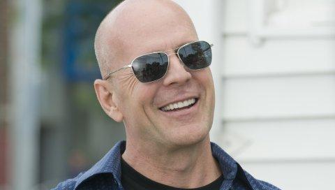 Bruce willis, актер, голливуд, мужчина, улыбаясь, очки, лысый