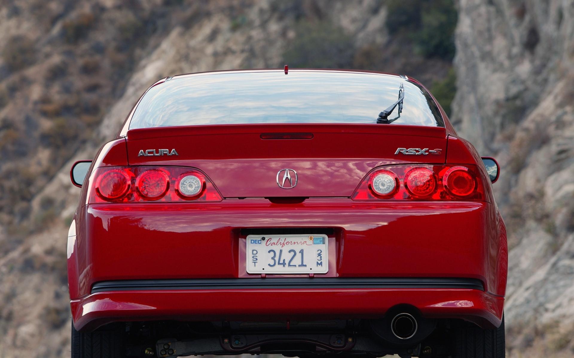 Картинки Acura, rsx, красный, вид сзади, стиль, автомобили, природа, асфальт фото и обои на рабочий стол
