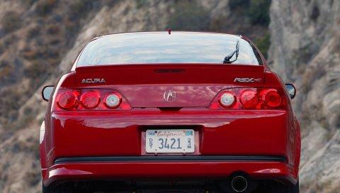 Acura, rsx, красный, вид сзади, стиль, автомобили, природа, асфальт