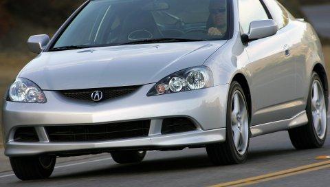 Acura, rsx, 2005, серый металлик, вид спереди, стиль, автомобили, асфальт, деревья