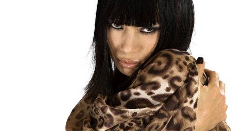 Ling bai, актриса, девушка, модель, взгляд, губы, белый