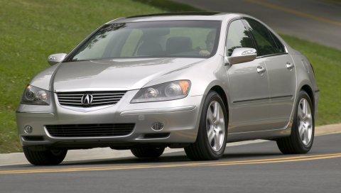 Acura, rl, 2004, серый металлик, вид спереди, стиль, седан, автомобиль, трава, дорога