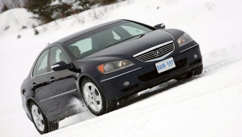Acura, rl, черный, вид сбоку, стиль, автомобиль, снег, деревья