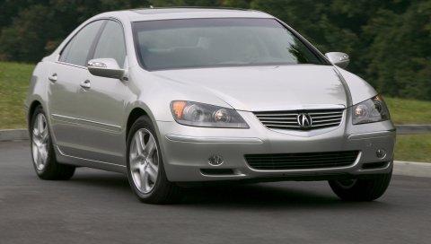 Acura, rl, серебристый металлик, вид спереди, авто, трава, движение