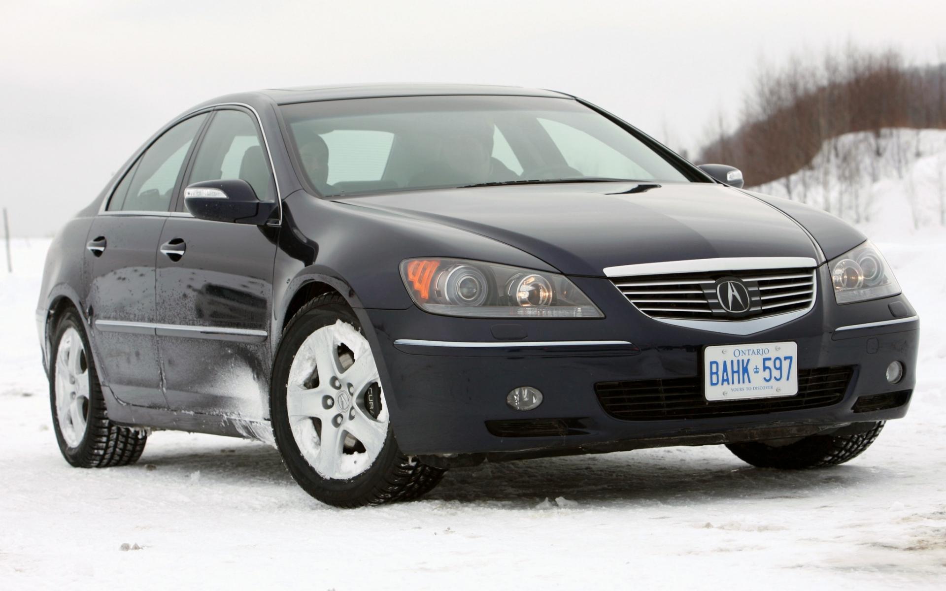 Картинки Acura, rl, черный, вид спереди, авто, снег, стиль фото и обои на рабочий стол