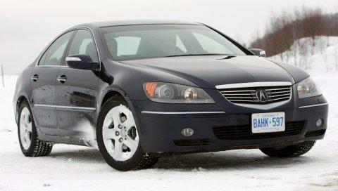 Acura, rl, черный, вид спереди, авто, снег, стиль