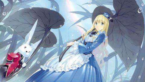 Девушка, блондинка, грусть, лист, кролик, дождь