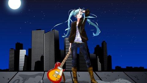 Девушка, гитара, ночь, луна, небо, скребок