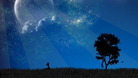 Облака, планета, дерево, тень, животное, скрыть