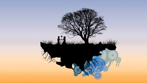 Остров, полет, люди, романтика, небо, цвета, тени