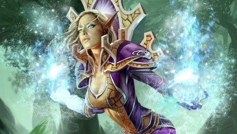 Мир Warcraft, эльф крови, энергия, девушка, глаза