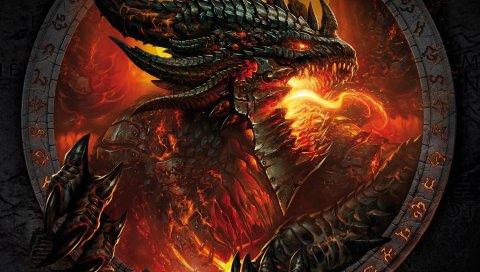 Мир warcraft, лицо, огонь, руки, монстр