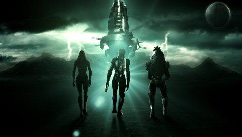Массовый эффект, тали зоры, персонажи, космический корабль, небо, облака, zipp, планета, спутник