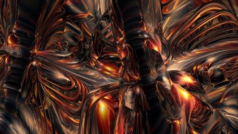 Огонь, сплав, форма, свет, тень