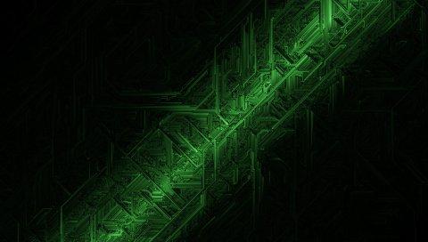 Схема, зеленый, тени, свет