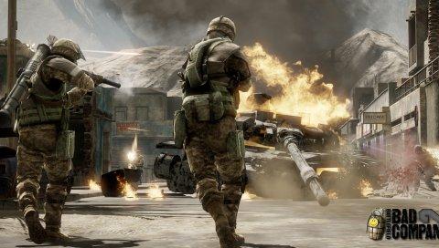Битва, солдаты, танк, огонь, плохая компания 2