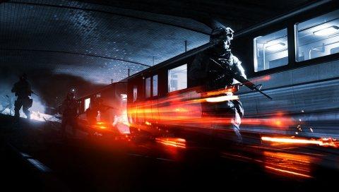 Битва, солдаты, метро, ??поезд, свет