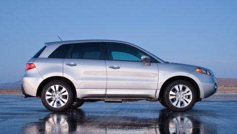 Acura, rdx, серебристый металлик, вид сбоку, джип, стиль, автомобили, отражение, мокрый асфальт