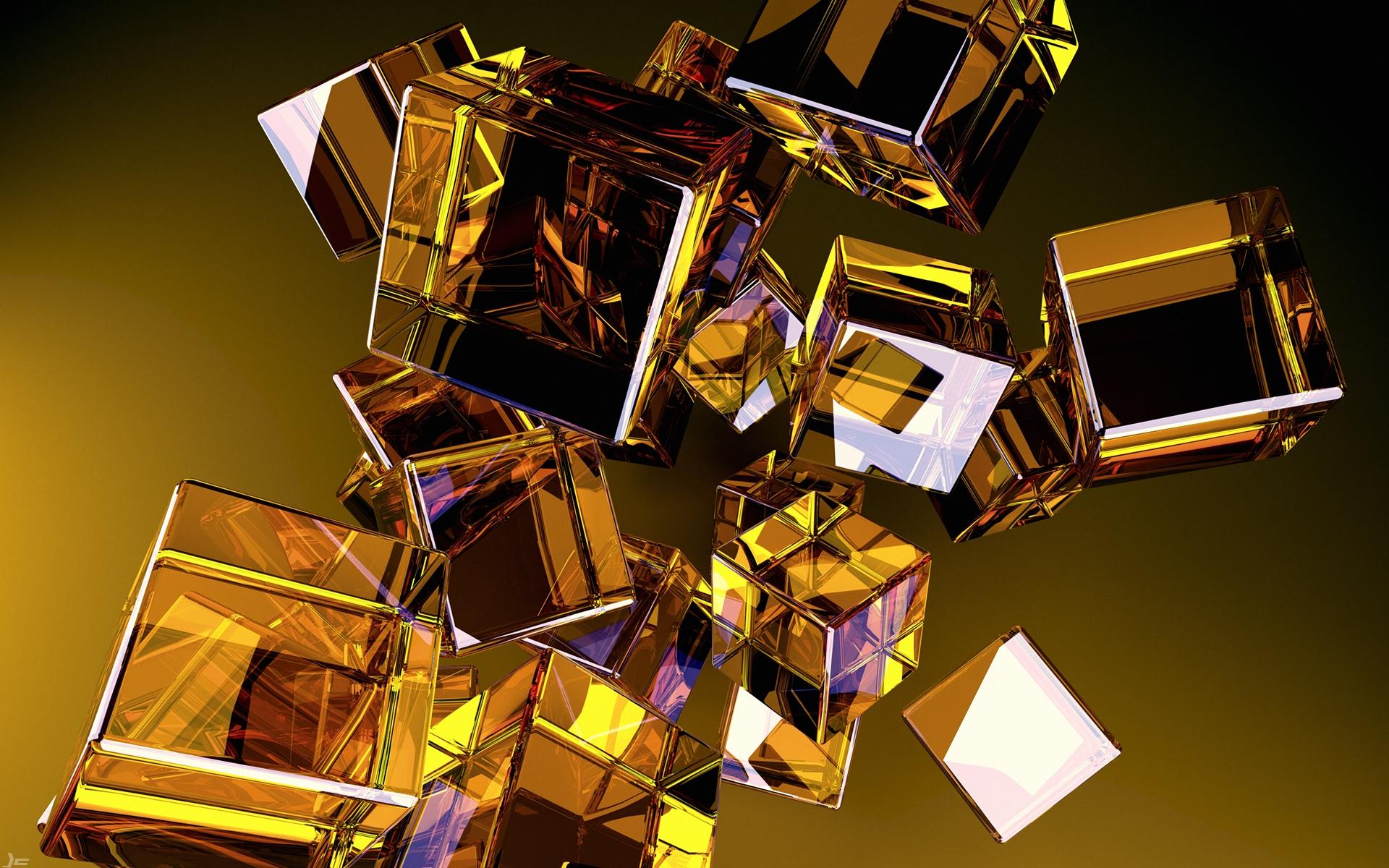 Картинки Стекло, форма, золото, куб, полет фото и обои на рабочий стол