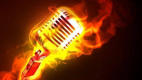Микрофон, огонь, пламя, металл