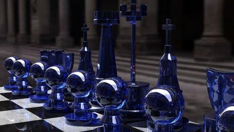 Шахматы, серебро, стекло, стол, форма