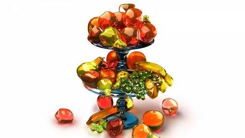 Фрукты, подставка, ваза, разнообразие