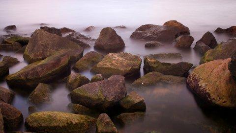 Камни, вода, острый, туман